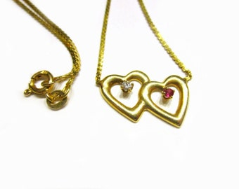 """14K Gold Ruby Diamond Heart Necklace Signed 585 2 Hearts Solid Gold Signed Gift for Her Gift for Mom 15"""""""