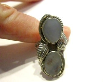 Vintage Silver Abalone Gray Blue Ring Size 6 1/2 Natural Stone Ring Leaf Leaves Carved Ring for Her Gift for Mom Gift under 25