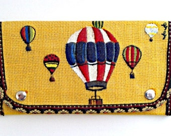 Yellow Purse- Burlap Purse- Hand Painted Purse- Hot Air Balloon Art- Yellow Clutch- Ladies Wallet- Bifold Wallet- Womens Wallet Gift for Her