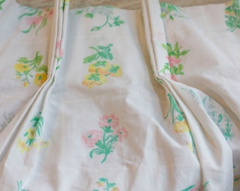 Vintage Pinch Pleated Floral Curtains, Shabby Chic Window Treatments, Long White Cotton Curtains, Pastel Floral Pattern, Cottage Home Decor