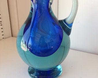 Two-tone aqua-blue Seguso Sommerso glass vase