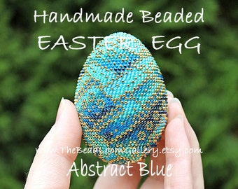 Handmade Beaded Easter Egg with 24K Gold Plated Seed Beads - Abstract Blue
