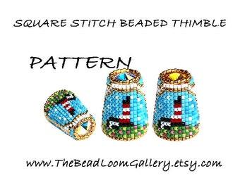 Beaded Thimble with Swarovski Rivoli Top - Delica Beads PDF PATTERN - Square Stitch - Vol.50 - The Lighthouse Thimble