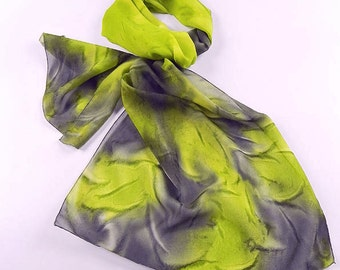 Olive green Gray Silk Scarf, Hand Dyed, Chiffon Silk, Abstract, Light Neck Scarf, Casual, Women Fashion Scarf, Wife Girlfriend Mom Gifts