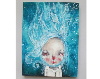 folk art Original girl painting mixed media art painting on wood canvas 8x6 inches - First frost