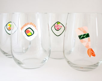 Sushi Art - Hand Painted Wine Glasses - Dinnerware - Unique Home Accent - Japanese Art - Modern Housewarming Gift - Mosaic Art