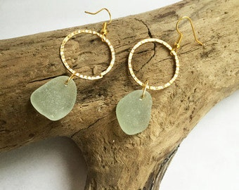 Light Blue Sea Glass Earrings, Gold Earrings, Drop Earrings, Elegant Earrings, Seaglass jewelry, Sea Glass Jewelry, Seaglass Earrings