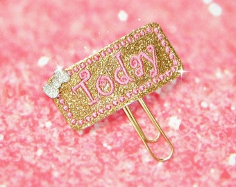 Today Glitter Planner Paper Clip in gold and pink