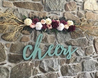 Cheers painted or stained Word Wood Cut Wall Art Sign Decor