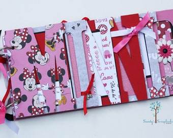 Disney scrapbook, Disney vacation, Minnie Mouse scrapbook, pre-made photo word album-MIN1