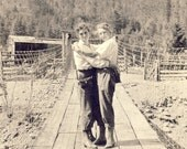Girlfriends EMBRACING Each Other In a BIG HUG On a Boardwalk at the Farm Photo Postcard circa 1915