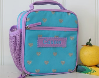 Lunch Bag With Monogram Classic Style Pottery Barn -- Teal/Lavender Glitter Heart