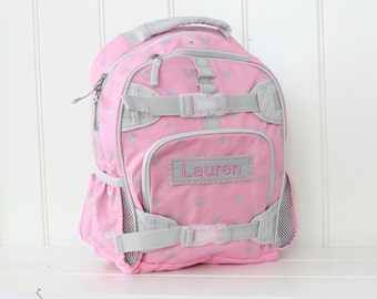 Small Backpack With Monogram  (Small Size) -- Pink/Gray Glitter Heart