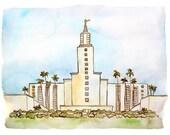 Los Angeles LDS Temple Watercolor Print (DIGITAL)