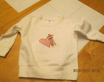 Valentine Sock Monkey Sweatshirt-size T2-white