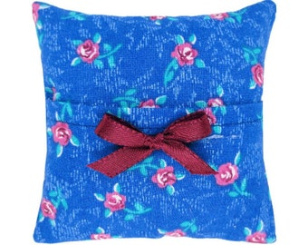 Blue Tooth Fairy Pillow with pocket, rose print fabric, maroon ribbon bow trim for girls