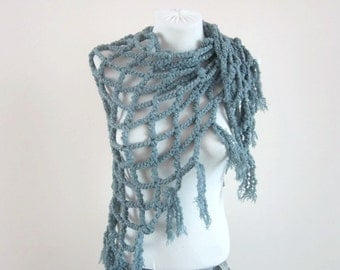 Crochet Shawl, Fringed Wrap, Cowl, Shawl, Scarf, Shawl Triangle, Shrug, Grey, Chunky Accessories,Women Scarves