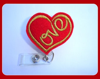 Retractable badge holder - Love - red felt heart with gold - Valentine's Day - Nurse badge holder medical badge reel