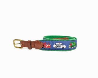 Vintage Children's Fire & Police Belt / Canvas and Leather Belt - 26 inch