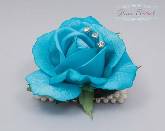 Turquoise Blue Rose Wrist Corsage- Wedding Flower- Prom Corsage- Real Touch Rose Corsage- Wrist Corsage. Caroline Rose Collection