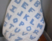 Crocheted Alphabet Soft Baby Infant Soft and Warm Blanket Afghan in White with Baby Blue Letters Great Baby Boy Shower Present Gift