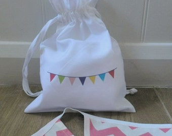 "Bunting Drawstring Cotton Bag Small (7.8"" x 11"")"
