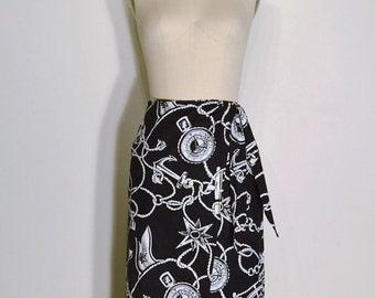 SUMMER HEAT SALE Vintage 1980s Skirt - 80s Nautical Skirt - Navy Blue and White