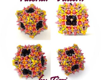Beading pattern, tutorial for a spiked cube, beaded bead Eleni, beaded bead pattern, step by step instructions, PDF pattern