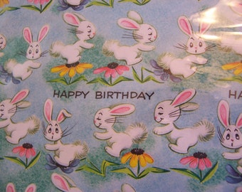 happy birthday bunny wrapping paper