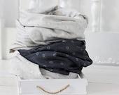 circle scarf grey monochrome floral print infinity scarf cotton double gauze