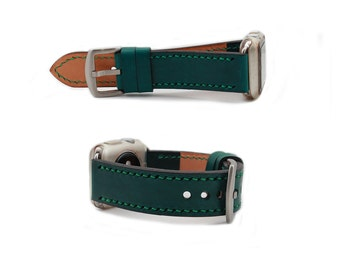 Beautiful Dark Teal Green leather Apple Watch Strap