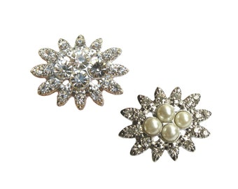 5 Crystal Pearl Rhinestone buttons for Wedding Hair Accessories Invitation Card Shoe Clip RB-079 (29mm or 1.1 inch)