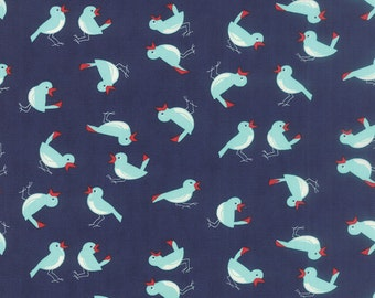 Vintage Picnic Fabric Navy Fabric Bonnie & Camille Fabric Navy Blue Quilting Fabric Moda Fabric Blue Bird Fabric - By The 1/2 Yard