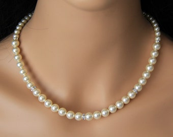 Wedding jewelry, bridal jewelry, pearl necklace with swarovski pearls, crystals, and rhinestones brooch