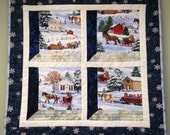 """Attic Window, Quilted Wall Hanging, """"Sleigh Ride"""" in Frosty Blues and Snowy Whites"""