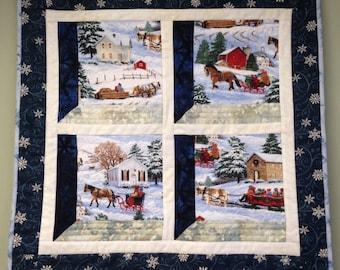 "Attic Window, Quilted Wall Hanging, ""Sleigh Ride"" in Frosty Blues and Snowy Whites"