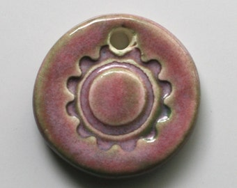 Handcrafted Ceramic Pink Floral Flower Pendant