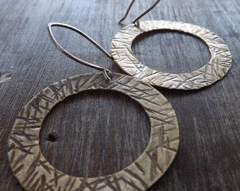 Textured Brass Earrings, Oxidized Brass Washer Earrings, Brass Earrings on Etsy.