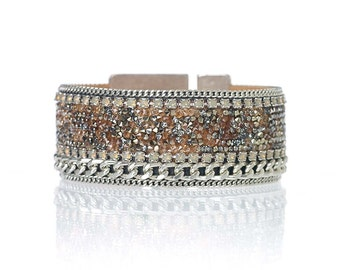Statement cuff bracelet / statement jewelry / gift for her / swarovski crystal bracelet / rhinestone bracelet / rhinestone jewelry