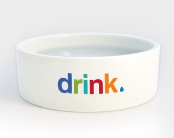 Drink Water Bowl - Heavy Ceramic Dog Cat Pet Bowls with Colorful Letters