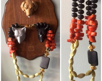 Gorgeous Coral and black lava multi strand necklace