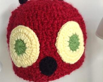 caterpillar crochet red beanie