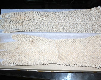 Vintage Hand Crocheted Mid- Length Ecru Cotton Lace Gloves