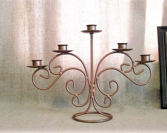 Metal 5 Arm Candelabra  / Shabby Copper Painted Metal Candelabra / Urban Chic Candelabra in Hammered Copper Finish