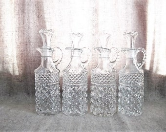 Vintage Pretty Pressed Glass Cruet/ Glass Cruet with Stopper / Bottle for Home, Wedding or Reception Decor -4 Available