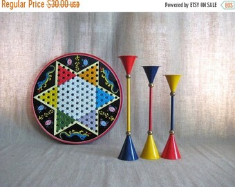Happy 4th with 40% Off Three Retro Cool Candlesticks in Primary Colors / Mid Century Mod Candle Holders