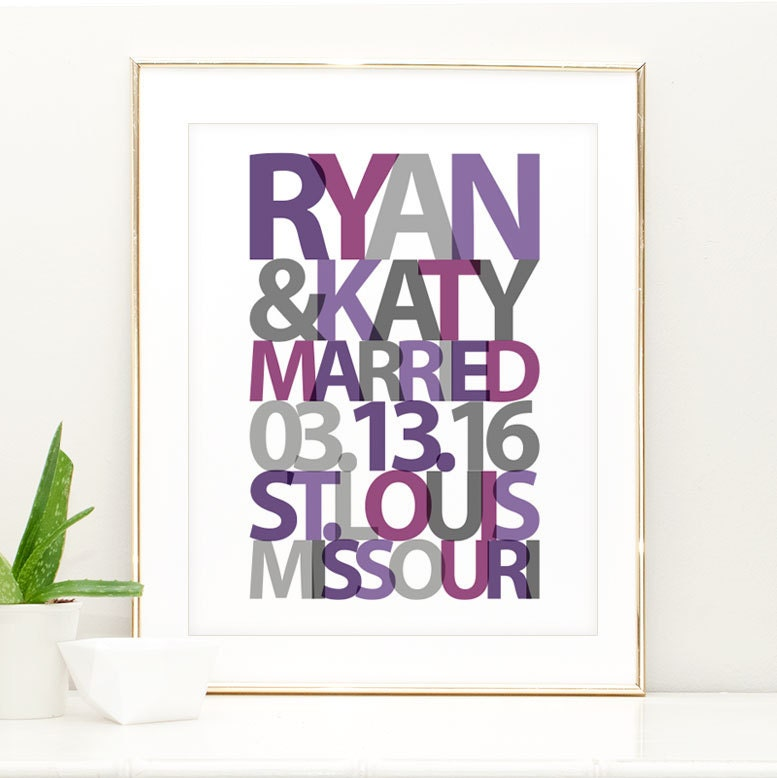 Wedding Gift Wall Art : Personalized Wedding Gift for Couple Wall Art Print