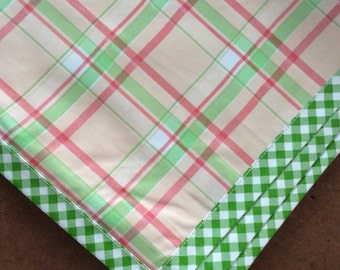 48x48 Plaid Pink Oilcloth Tablecloth