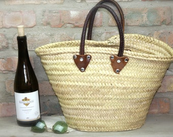 Woven Bag tote with Leather Handles Beach bag market bag purse