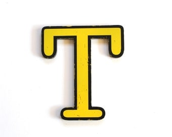 Vintage Yellow and Black Plastic Sign Letter T
